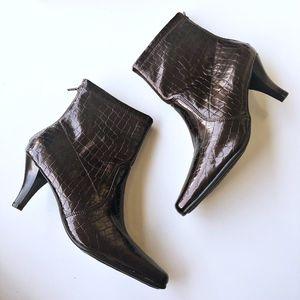 Aerosoles New Faux Crocodile Embosses Ankle Boots